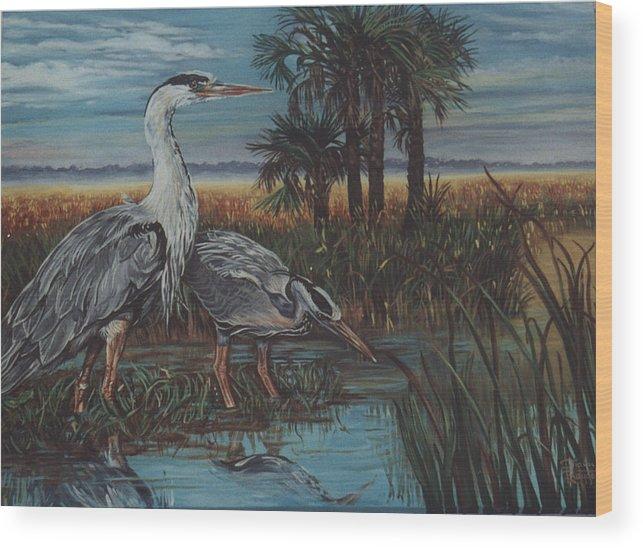 Herons Wood Print featuring the painting Herons by Diann Baggett