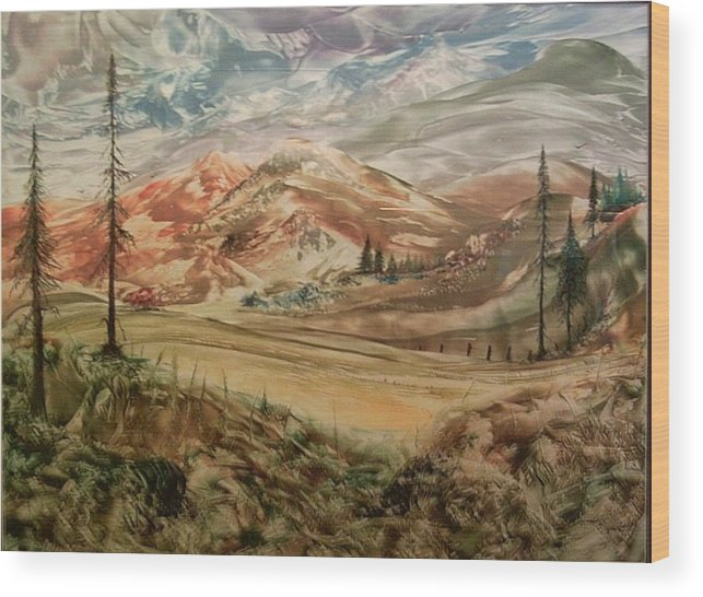Landscape Wood Print featuring the painting High Meadowland by John Vandebrooke