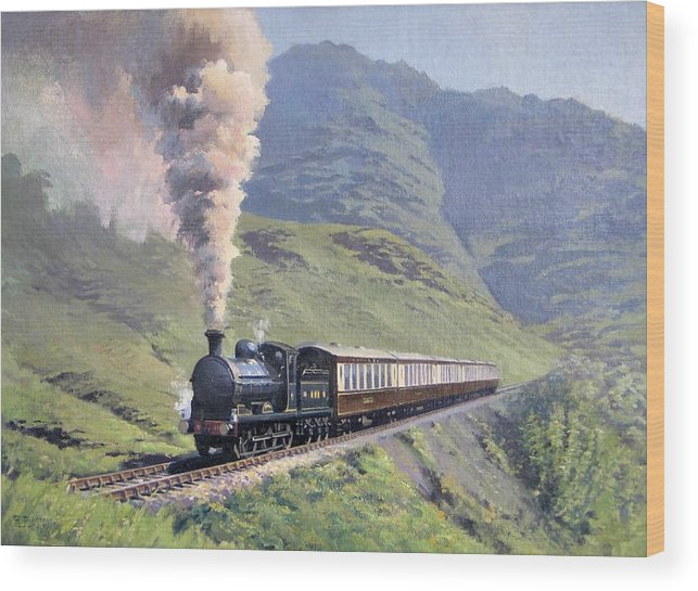Steam Wood Print featuring the painting Highland Steam by Richard Picton