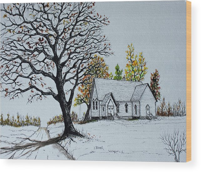 Jack G Brauer Wood Print featuring the painting Hilltop Church by Jack G Brauer