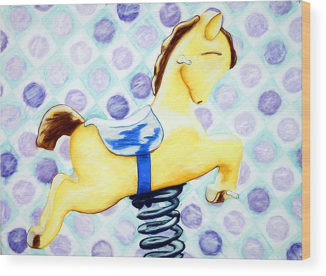 Hobby Horse Wood Print featuring the painting Hobby Horse 2 by John Terwilliger