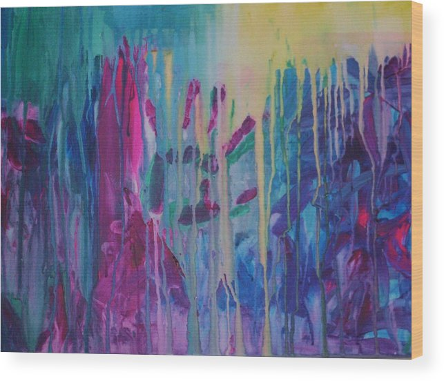 Abstract Wood Print featuring the painting Holding On by Moby Kane