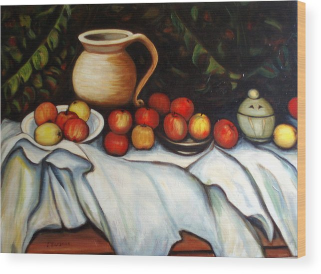 Still Life Wood Print featuring the painting Homage To Cezanne by Lia Marsman