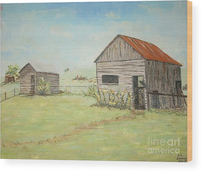 2 Small Sheds; Light Green Yard; Old Buildings Wood Print featuring the painting Homeplace - The Smokehouse And Woodhouse by Judith Espinoza