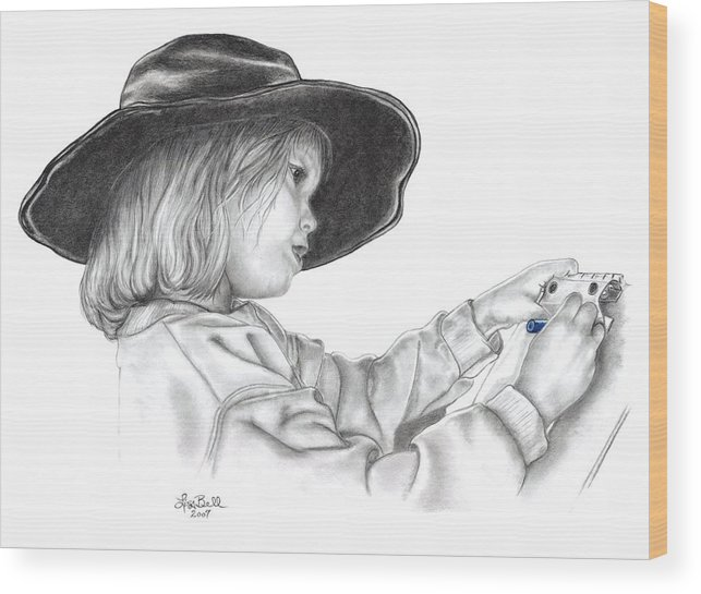 Children Wood Print featuring the drawing Hope For The Future by Lisa Bell