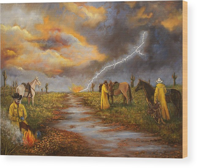 Desert Storm Wood Print featuring the painting Hot Coffee And Wet Bedroll by Lucille Owen-Huston