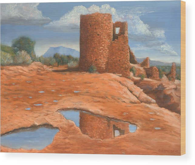 Anasazi Wood Print featuring the painting Hovenweep Reflection by Jerry McElroy