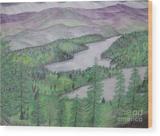 Mountains Wood Print featuring the drawing I Suspect More Rain by Stella Sherman