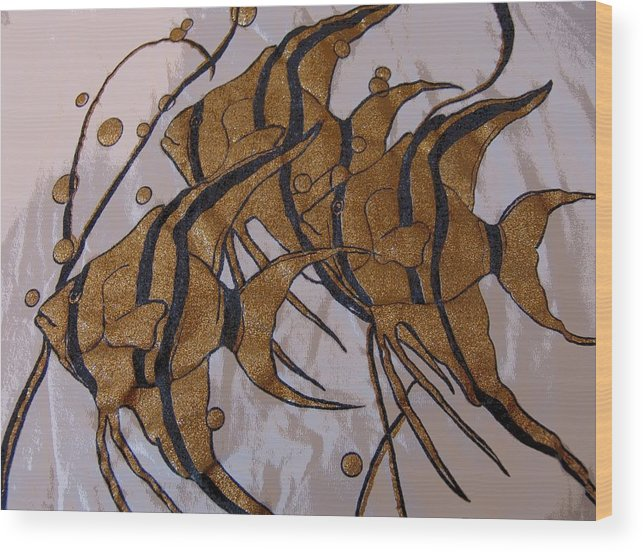 Abstract Wood Print featuring the digital art I Think We're Goldfish by Florene Welebny