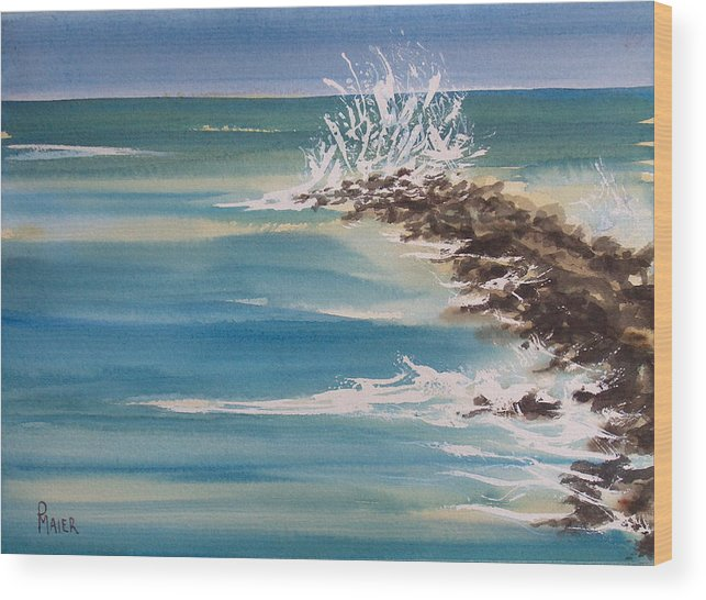 Ocean Wood Print featuring the painting Jersey Rocks by Pete Maier