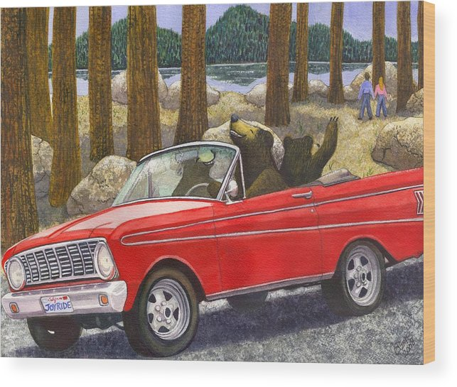 Bears Wood Print featuring the painting Joy Ride by Catherine G McElroy