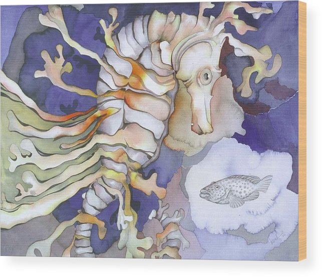 Sealife Wood Print featuring the painting Just Dreaming Too by Liduine Bekman