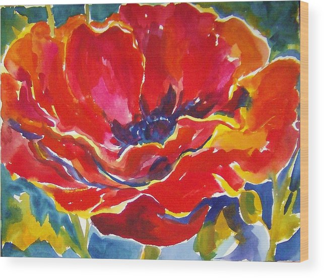 Poppys Wood Print featuring the painting Just One Poppy Sold by Therese Fowler-Bailey