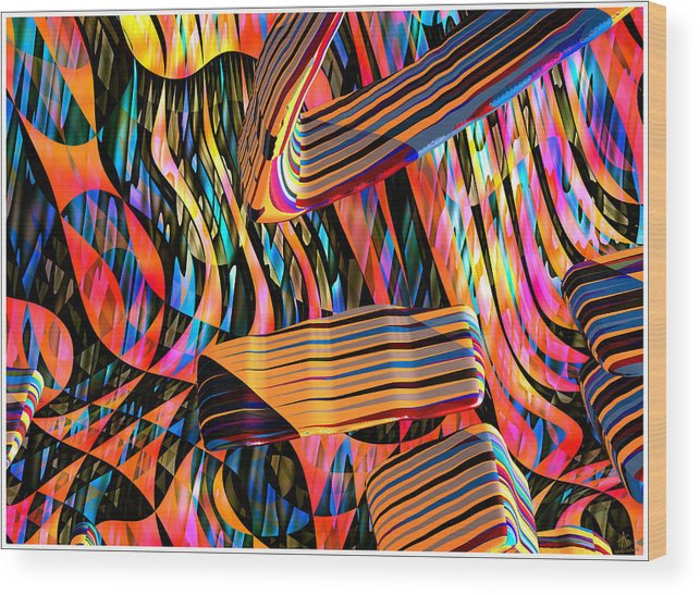 Abstract Art; Digital Art; 3-d Rendering Wood Print featuring the digital art kaleido Calligraph 10x11m3n27m5aa by Terry Anderson