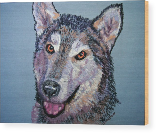 Alaskan Malamute Wood Print featuring the painting King by Judy Fischer Walton