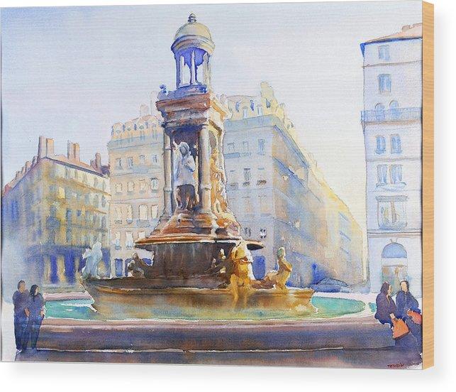Europ Wood Print featuring the painting La Fontaine Des Jacobins by Joel Tenzin