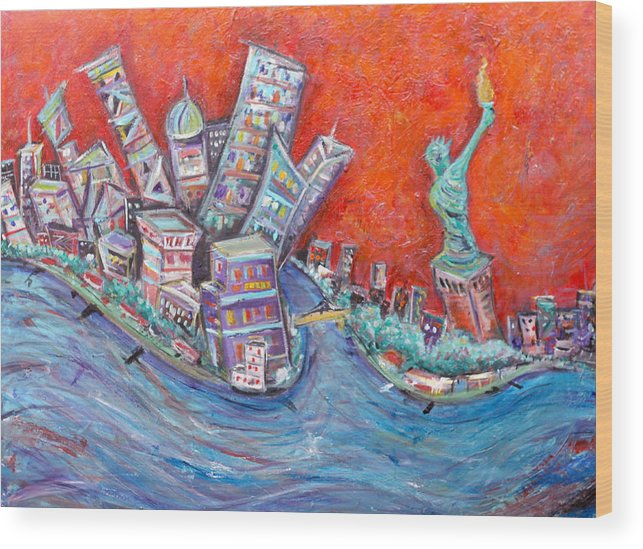 Statue Of Liberty New York City Wall Steet Manhattan Hudson River New Jersey State Park Ellis Island Wood Print featuring the painting Lady Liberty by Jason Gluskin