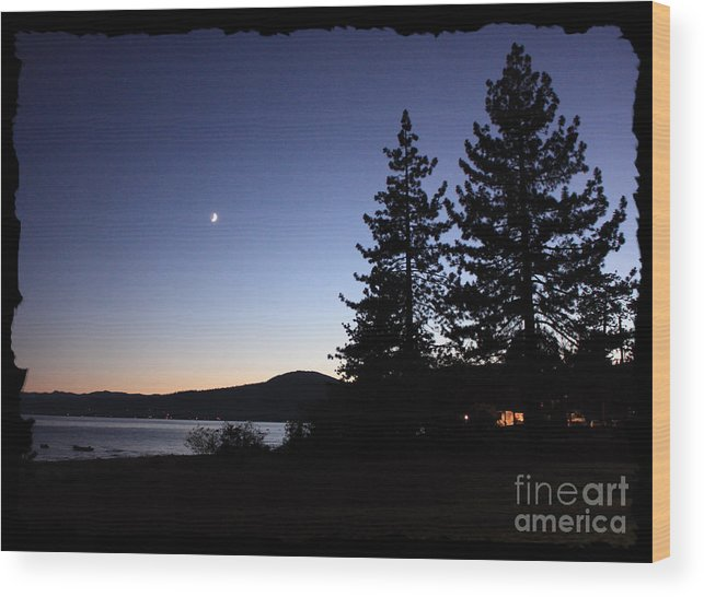 Lake Tahoe Sunset Wood Print featuring the photograph Lake Tahoe Sunset With Trees And Black Framing by Carol Groenen