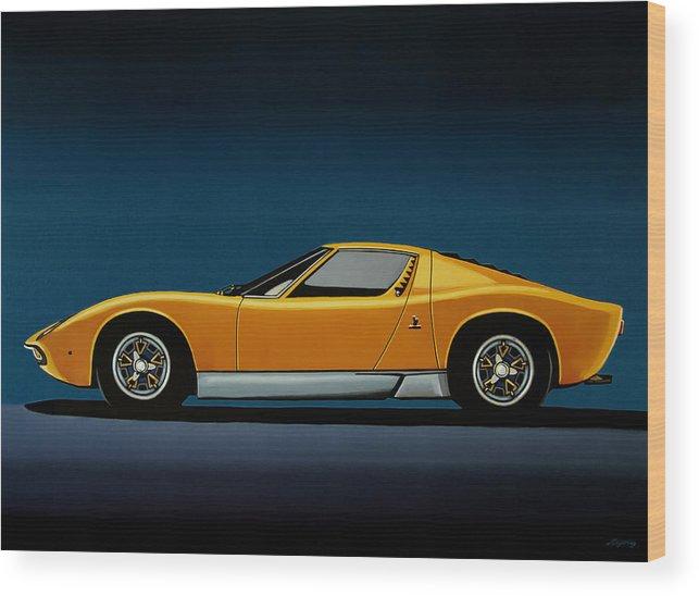 Lamborghini Miura 1966 Painting Wood Print By Paul Meijering