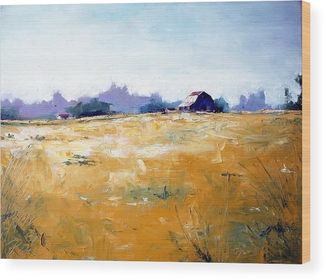 Art Wood Print featuring the painting Landscape With Barn by RB McGrath
