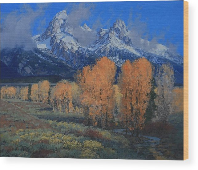 Landscape Wood Print featuring the painting 'last Leaves' by Lanny Grant