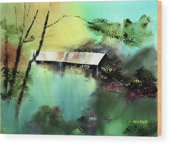 Nature Wood Print featuring the painting Let It Be by Anil Nene