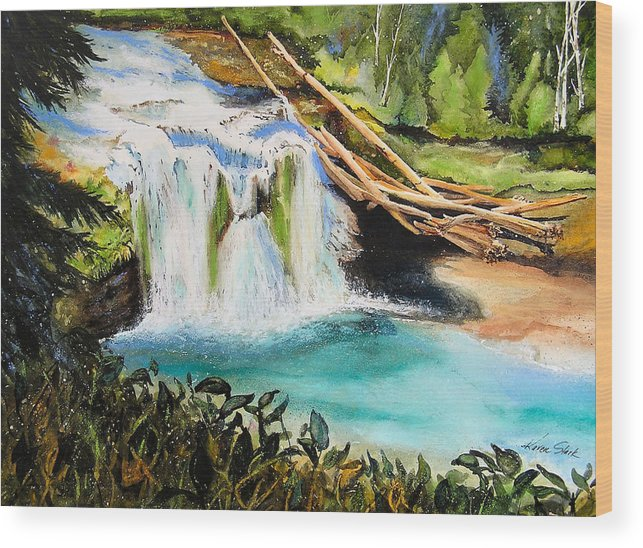 Water Wood Print featuring the painting Lewis River Falls by Karen Stark