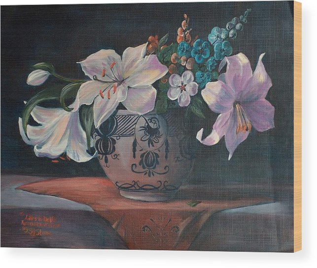 Flower Wood Print featuring the painting Lilies In Delft by Sylvia Stone