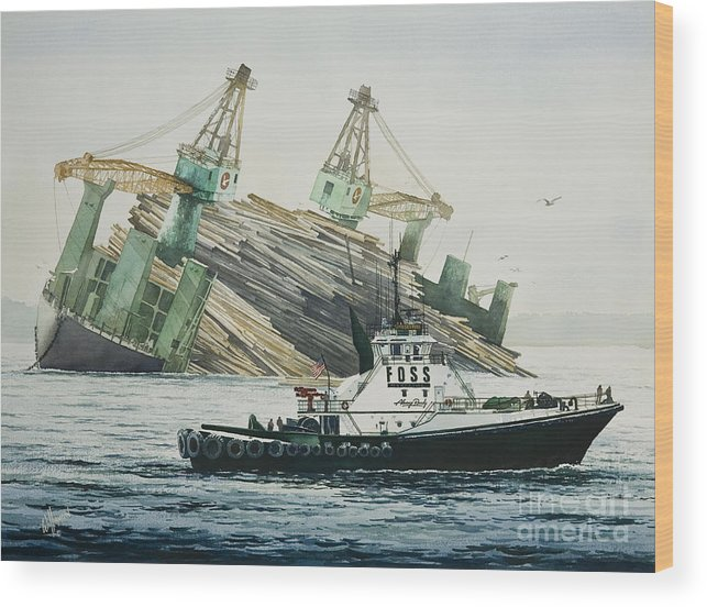 Tugs Wood Print featuring the painting Lindsey Foss Barge Assist by James Williamson