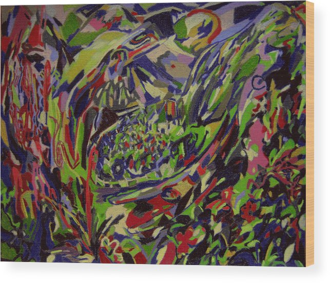 Fantasy Wood Print featuring the painting Lodge Of Bliss by Tadeush Zhakhovskyy