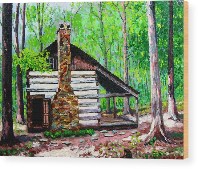 Log Cabin Wood Print featuring the painting Log Cabin V by Stan Hamilton