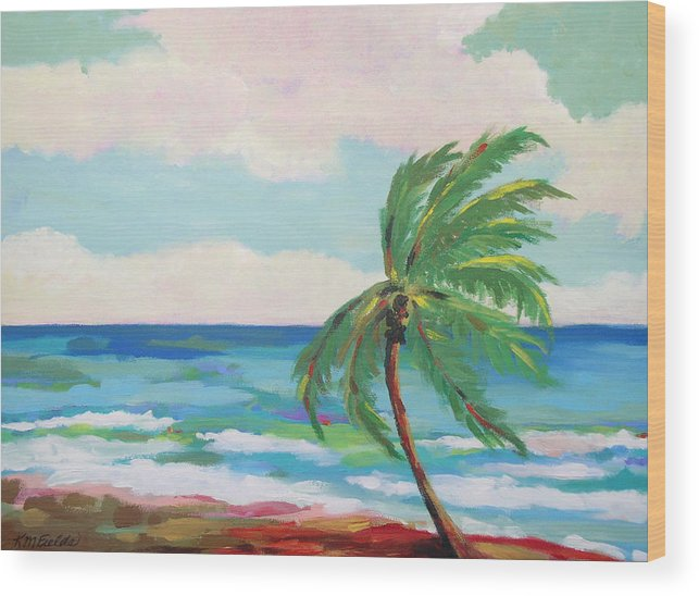 Palm Tree Wood Print featuring the painting Lone Palm On The Beach by Karen Fields