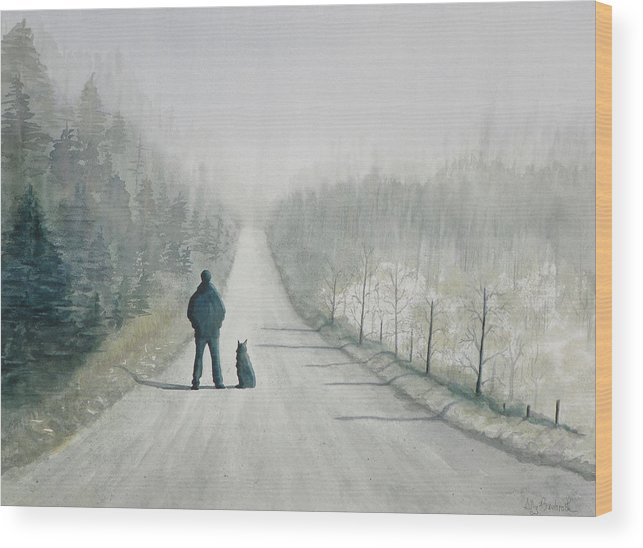 Winter Wood Print featuring the painting Long Road Home by Ally Benbrook
