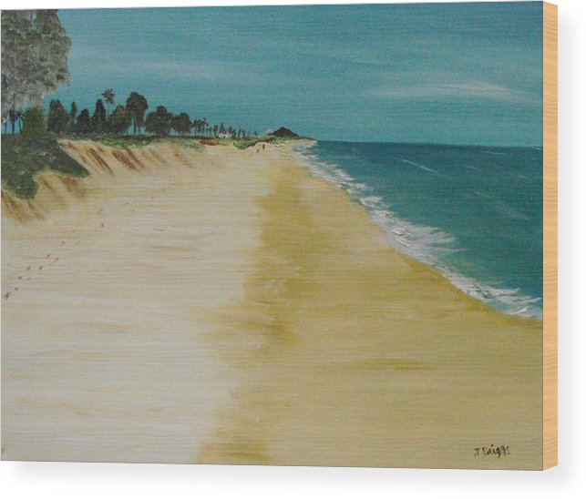 Beach Wood Print featuring the painting Looking Up The Beach by Dottie Briggs