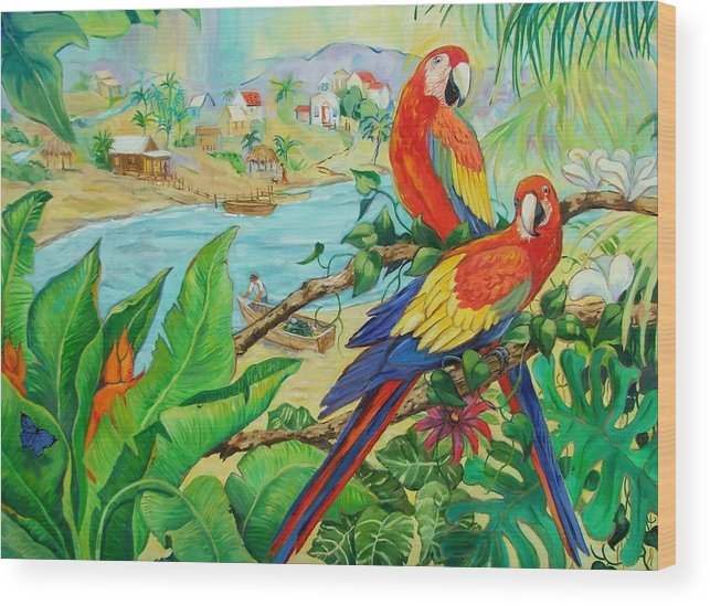 Birds Wood Print featuring the painting Macaws by Dianna Willman