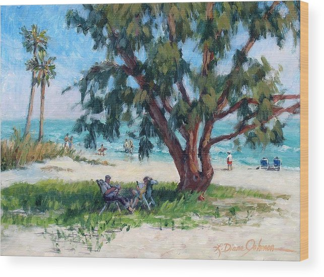 Tropical Beach Wood Print featuring the painting Made In The Shade by L Diane Johnson