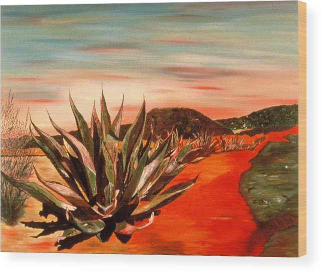 Landscape Wood Print featuring the painting Magueys At Sunset by Oudi Arroni