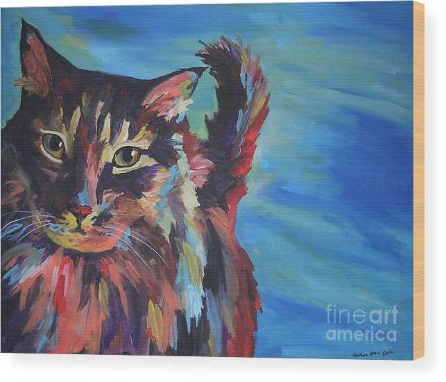Cat Wood Print featuring the painting Maine Coon by Caroline Davis