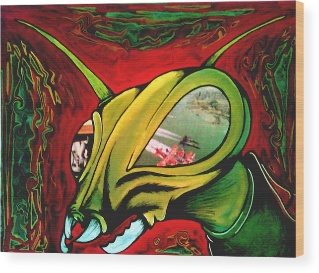 Paintings Wood Print featuring the painting Mantis by Jeff DOttavio