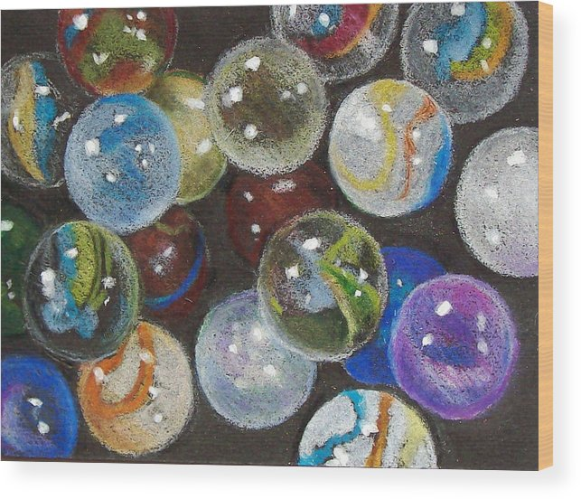 Marbles Wood Print featuring the drawing Many Marbles by Joyce Geleynse