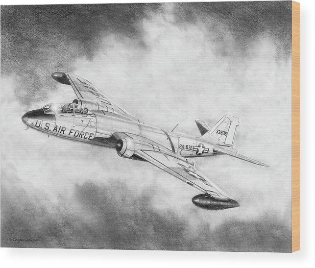 Aviation Wood Print featuring the drawing Martin B-57 Intruder by Douglas Castleman