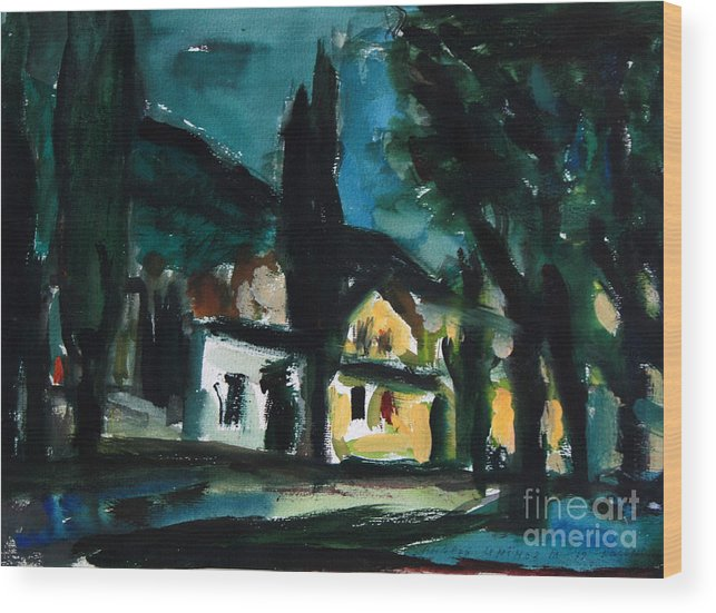 Mediterranean Wood Print featuring the painting Mediterranean Night by Andrey Semionov