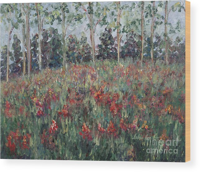 Landscape Wood Print featuring the painting Minnesota Wildflowers by Nadine Rippelmeyer
