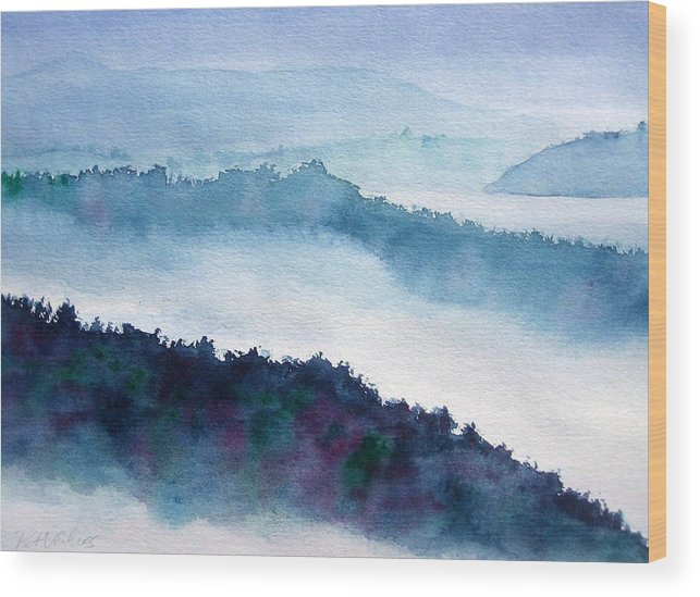 Landscape Wood Print featuring the painting Mist On Howe Sound by Pat Vickers