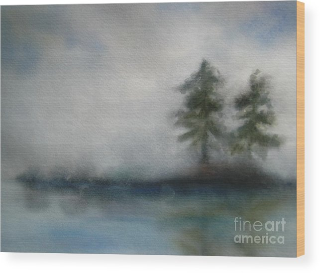 Landscape Wood Print featuring the painting Misty Waters by Vivian Mosley