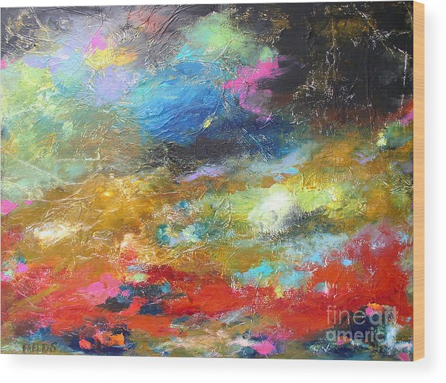 Abstract Wood Print featuring the painting Moments by Karen Fields