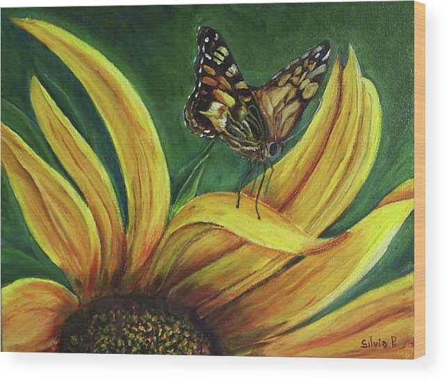 Butterfly Wood Print featuring the painting Monarch Butterfly On A Sunflower by Silvia Philippsohn