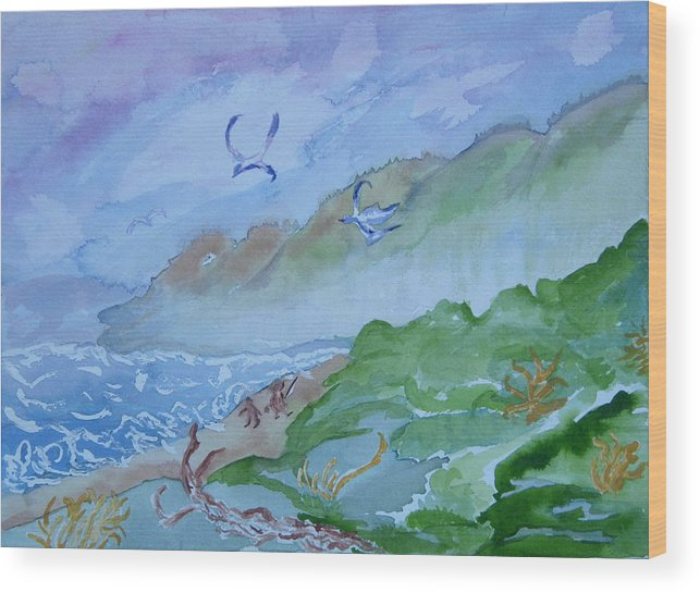 Oregon Wood Print featuring the painting Monkeys Head Point Oregon by Margaret G Calenda
