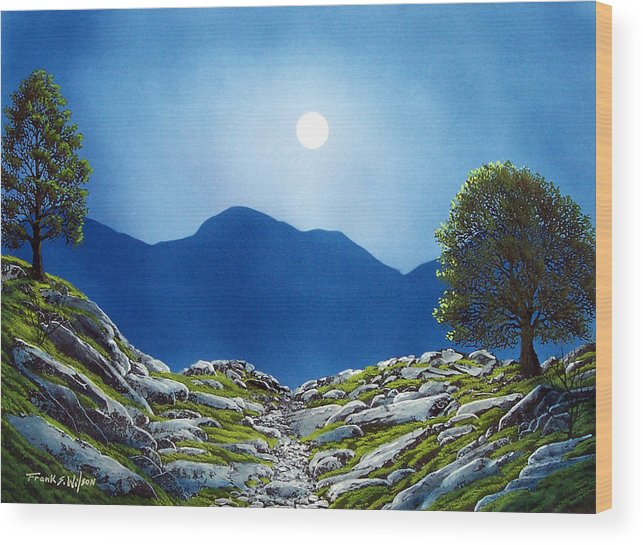 Landscape Wood Print featuring the painting Moonrise by Frank Wilson