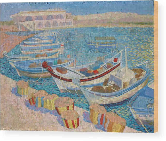 Seascape Wood Print featuring the painting Morning On Cyprus .2003 by Natalia Piacheva